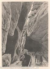 Antique print Tamina Gorge Old Bad Pfäfers Switzerland 1879 / holzstich Ragaz