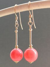 Beautiful Pink Round Coral & 14ct Rolled Gold Drop Earrings