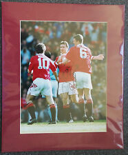 "ERIC CANTONA - SIGNED PHOTO 12"" x 10"" IN  MOUNT MANCHESTER UNITED vs MAN CITY"