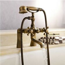 Luxury Antique Brass Deck Mounted Tub Faucet Bath Mixer Tap with Hand Shower