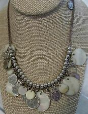 VTG COIN NECKLACE ELIZABETH THE SECOND SOUTH AFRICA FAUX COINS & MOTHER PEARL