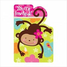 PINK MOD MONKEY LOVE INVITATIONS (8) ~ Birthday Party Supplies Stationery Cards