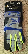 New Easton Adult HS9 Batting Gloves Grey/Royal/Optic Yellow Large Pair