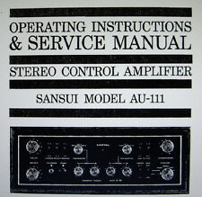 SANSUI AU-111 ST CTR AMP OPERATING INSTRUCTIONS AND SERVICE MANUAL BOUND ENGLISH