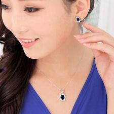 1 Set Oval Blue Sapphire Alloy Pendant Chain Necklace Earrings Jewelry
