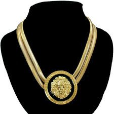 "Lion Head Necklace Chunky Gold Statement Medallion 18"" Flat Snake Chain"