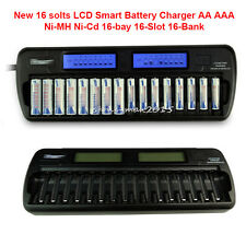 EU/UK Plug 16 slots LCD Smart Battery Charger AA AAA Ni-MH Ni-Cd 16-bay 16 Banks
