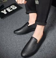 Men Casual PU Leather Woven Breathable Slip On Casual Driving Shoes Loafer Pumps