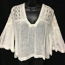Free People Boho Charming Lace Ivory Top NWT Size L MSRP $128