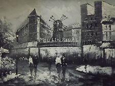 Pintura Óleo sobre tela Blanco y Negro Escena Moulin Rouge París Contemporáneo
