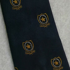 SHIELD CREST TIE VINTAGE RETRO MOTIF EMBLEM 1960s CLUB ASSOCIATION NAVY SHARPS