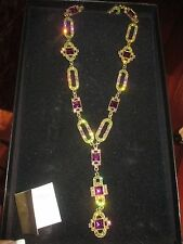 GORGEOUS HEIDI DAUS MULTI COLOR RHINESTONE CHAIN LINK LARIAT STYLE NECKLACE NEW