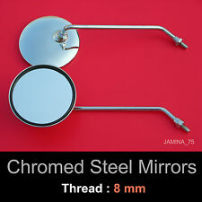 "Vespa Lambretta Piaggio Scooter Moped 4 1/8"" Round Chrome Steel Mirror 8mm Pair"