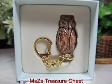"Rare MONET ""OWL"" Collectible Enamel Keepsake Trinket Box KEY CHAIN  *New In Box*"