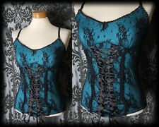 Gothic Teal Black Fitted Lace Up SIREN Strap Top 8 10 Pin Up Glamour Burlesque