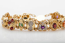 Designer $6000 10ct Natural Emerald Diamond Garnet 14k Gold Slide Charm Bracelet
