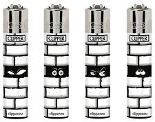 SET DI 4 ACCENDINI CLIPPER WALL Muro Sguardo Occhi Da Collezione Gift Lighter