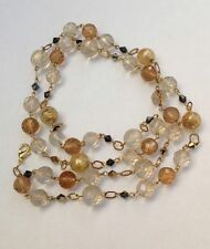 Stunning Vintage Pastel Beige Faceted Art Glass Gold Tone Long Beaded Necklace