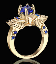 Skull Blue Sapphire Engagement Ring Women/Men's Yellow Gold Plated Jewelry size7