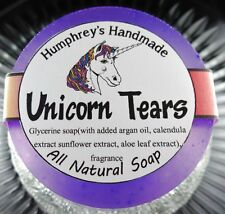 UNICORN TEARS Womens Shave & Shampoo Soap Round Bar Argan Oil Cherry Coconut