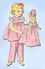 1950s Vintage Simplicity Sewing Pattern 4025 FF Toddler Girls Pjs & Doll Size 6