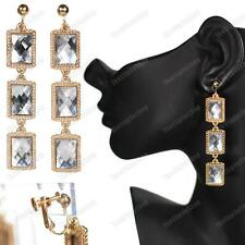 "CLIP ON 3""long RETRO ornate FACETED MIRRORED GEM EARRINGS vintage gold fashion"