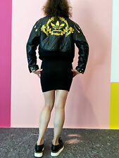 Adidas Jeremy Scott Quilted Leather Jacket Leder Jacke Schwarz black XS