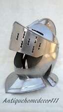 European Closed Helmet Medieval Knight Armour Costume Dress Helm Larp Fancy