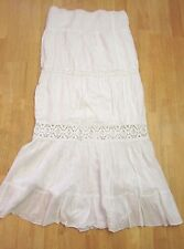 Bohemian Chic White Tiered Long Maxi Skirt 100% Cotton Size Small