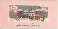 VINTAGE VICTORIAN HOUSE FOLK ART GARDEN FLOWERS CAR SPRING HORSE CARD ART PRINT