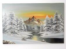 Vintage Oil on Canvas Painting signed Barrister Snow Mountain Tree Scene 36 x 24