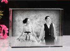 Personalized Custom Laser Etched Crystal Glass Photo art Paperweight Wedding