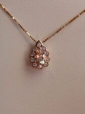NEW 1/2ct Morganite & Sapphire Pear Halo Pendant Necklace 10K Pink Rose Gold 18""