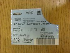 21/10/1999 Ticket: Zurich v Newcastle United [UEFA Cup] (Creased, Folded, Worn).