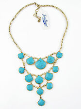 LUCKY BRAND Turquoise Stone Gold-Tone Bead Frontal Collar Necklace