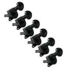 Grover Mini Locking Rotomatic Tuner/Machine Heads, Set/6, Black Chrome, 406BC6