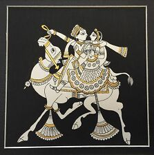 Original 'Pair' Indian Phad Miniature Painting Rajasthani Folk Art India