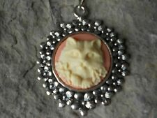 KITTY CAT CAMEO NECKLACE PENDANT (cream on peach coral) 925 PLATE CHAIN--NICE