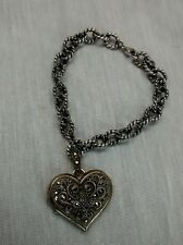 Pretty Judith Jack sterling 925 marcasite  heart locket charm bracelet small din