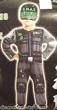 SPECIAL OPERATIONS FORCE SWAT JUMPSUIT W/ HELMET BOYS SIZE M HALLOWEEN COSTUME