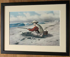 Mounted and framed Hunter print, 12''x16'' framed, Beach Snipe Shooting