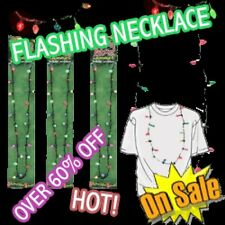 GREEN RED LED Christmas Flashing Blinking Light Bulbs Necklace Stocking Stuffers