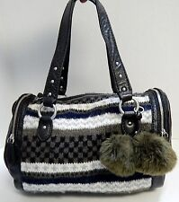 Juicy Couture Leather Knit Pom Pom Satchel Bag