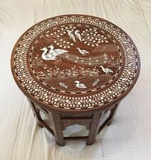 Big Indian Inlaid Peacock Family Design Rosewood Table