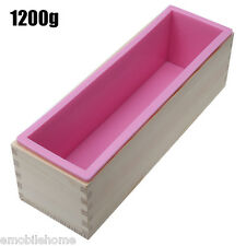 1200g Rectangle Silicone Soap Loaf Mold Wooden Box DIY Making Tools 1200G