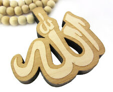 """WOODEN ALLAH ISLAM GOD PENDANT PIECE & 36"""" CHAIN BEAD NECKLACE GOOD WOOD STYLE"""