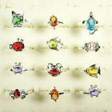 Wholesale Lots 10Pcs Cute Childrens Kids Crystal Animal Silver Rings Size 4-6