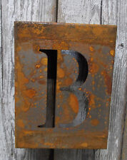 "LETTER ""B"" RUSTY FINISH 8"" LASER CUT METAL BLOCK LETTER RUSTIC DECOR RUSTED SIGN"