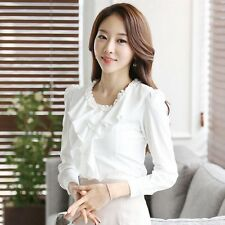 Women Elegant OL Career Solid Ruffle O-Neck Long Sleeve Chiffon Shirt Blouse Top