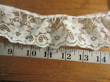 VTG 4 yards  cream beige 2 '' wide  gathered scalloped trim poly lace
